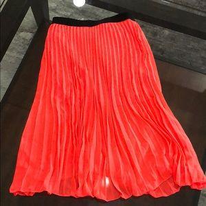 Neon midi pleated skirt